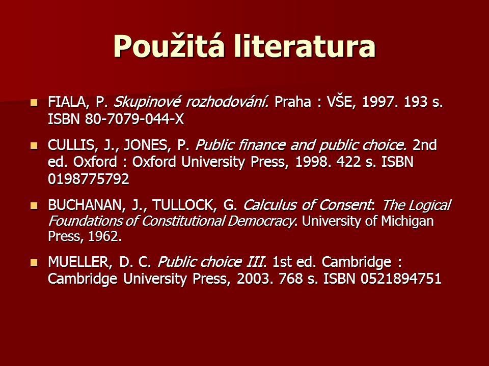 Použitá literatura FIALA, P. Skupinové rozhodování.