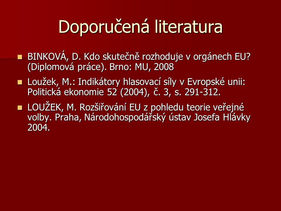 Doporučená literatura BINKOVÁ, D. Kdo skutečně rozhoduje v orgánech EU.