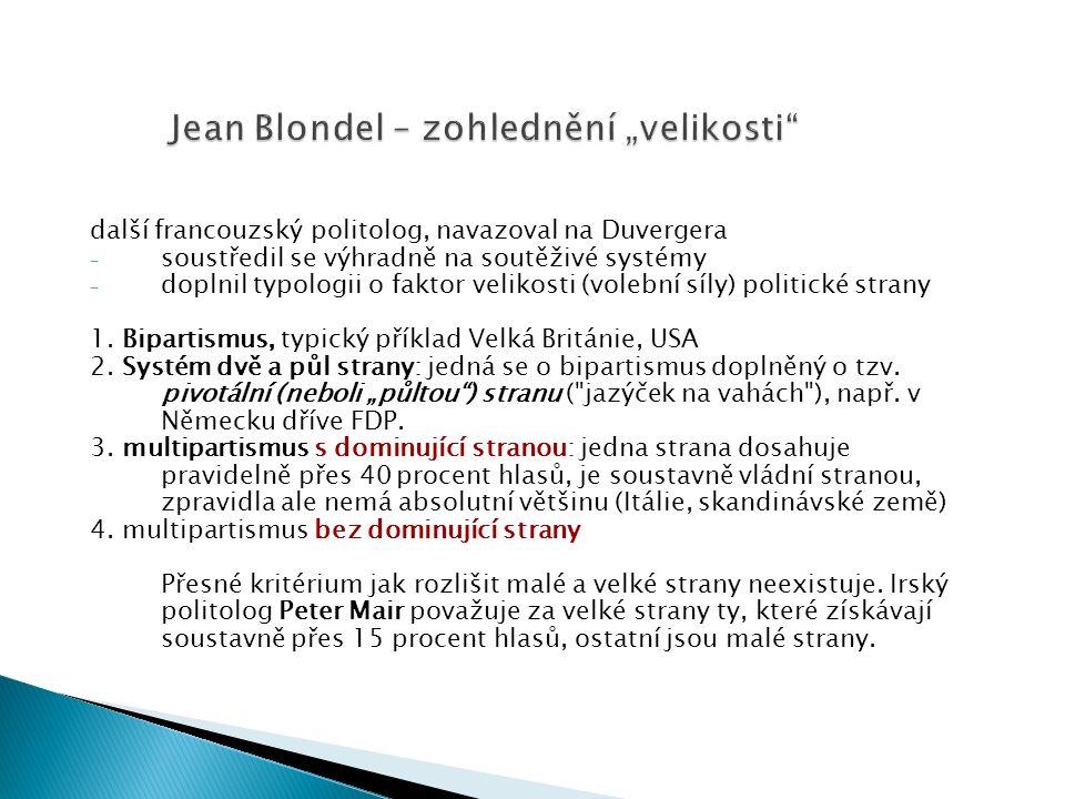 """Jean Blondel – zohlednění """"velikosti další francouzský politolog, navazoval na Duvergera - soustředil se výhradně na soutěživé systémy - doplnil typologii o faktor velikosti (volební síly) politické strany 1."""