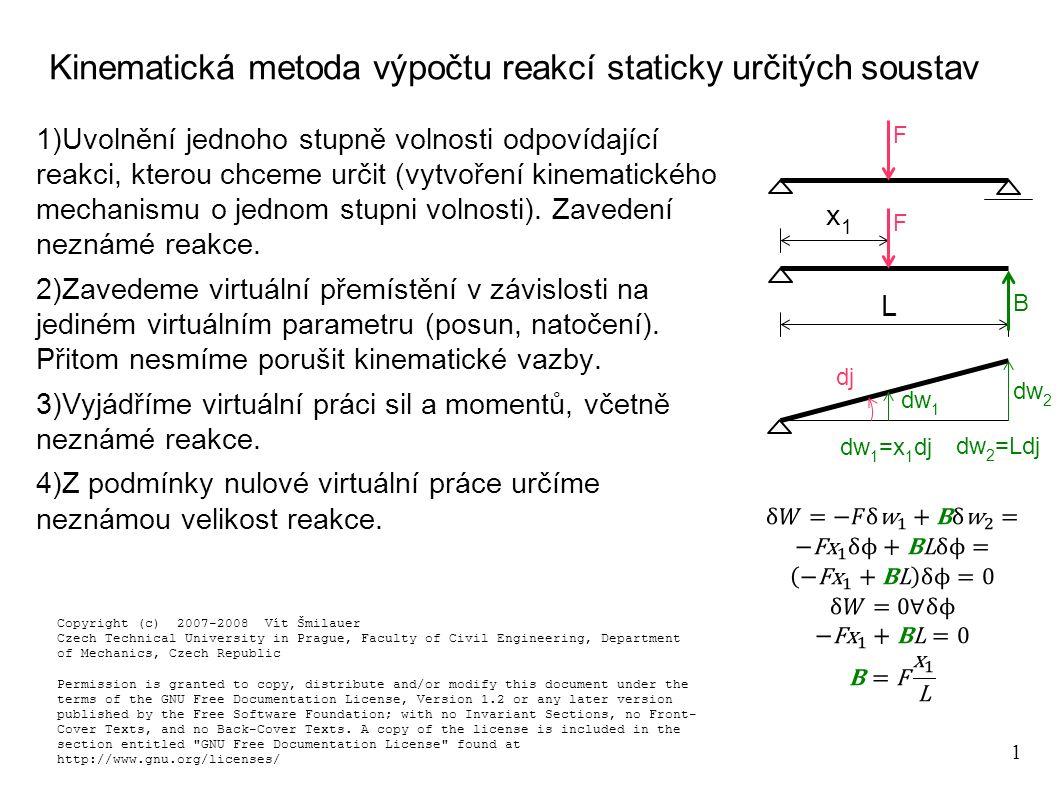 1 Kinematická metoda výpočtu reakcí staticky určitých soustav 1)Uvolnění jednoho stupně volnosti odpovídající reakci, kterou chceme určit (vytvoření k