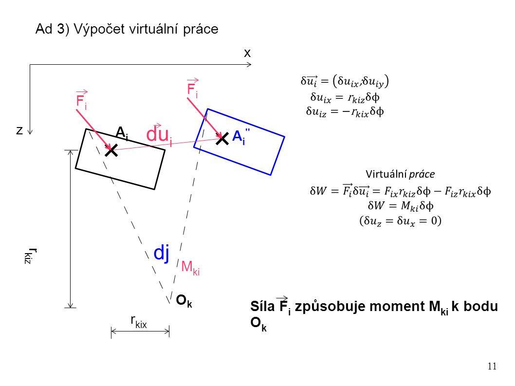 11 Ad 3) Výpočet virtuální práce OkOk x z r kiz duidui dj r kix AiAi FiFi FiFi A i '' M ki Síla F i způsobuje moment M ki k bodu O k