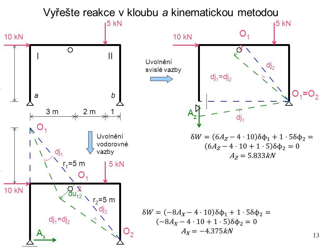 13 Vyřešte reakce v kloubu a kinematickou metodou 5 kN 3 m 2 m 1 10 kN 4 m ab 5 kN 10 kN 4 m AxAx O1O1 O2O2 O12O12 dj 1 dj 2 du 12 r 2 =5 m r 1 =5 m d