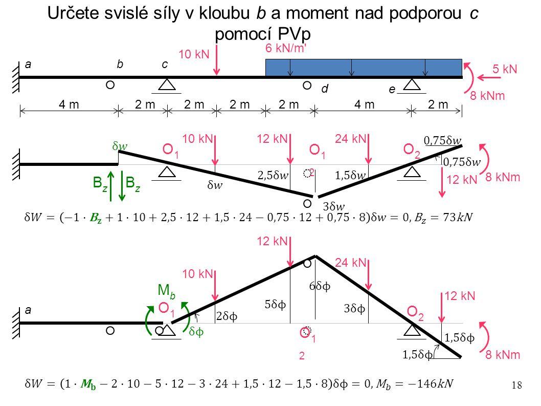 18 Určete svislé síly v kloubu b a moment nad podporou c pomocí PVp 4 m 2 m 4 m 10 kN 6 kN/m' 5 kN 8 kNm a bc d e O1O1 O2O2 O12O12 12 kN 24 kN 12 kN M