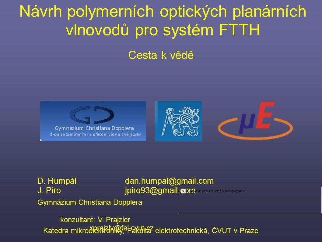 Cesta k vědě Návrh polymerních optických planárních vlnovodů pro systém FTTH D. Humpáldan.humpal@gmail.com J. Pírojpiro93@gmail.com Gymnázium Christia