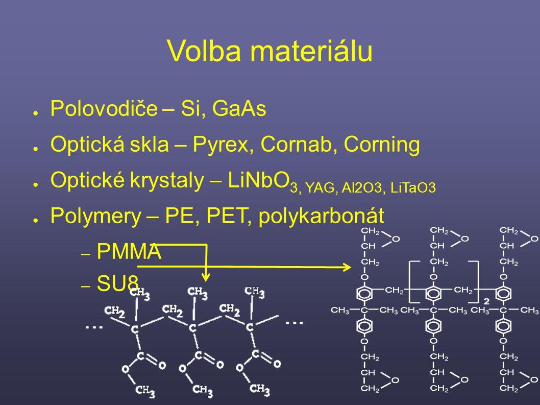Volba materiálu ● Polovodiče – Si, GaAs ● Optická skla – Pyrex, Cornab, Corning ● Optické krystaly – LiNbO 3, YAG, Al2O3, LiTaO3 ● Polymery – PE, PET, polykarbonát – PMMA – SU8