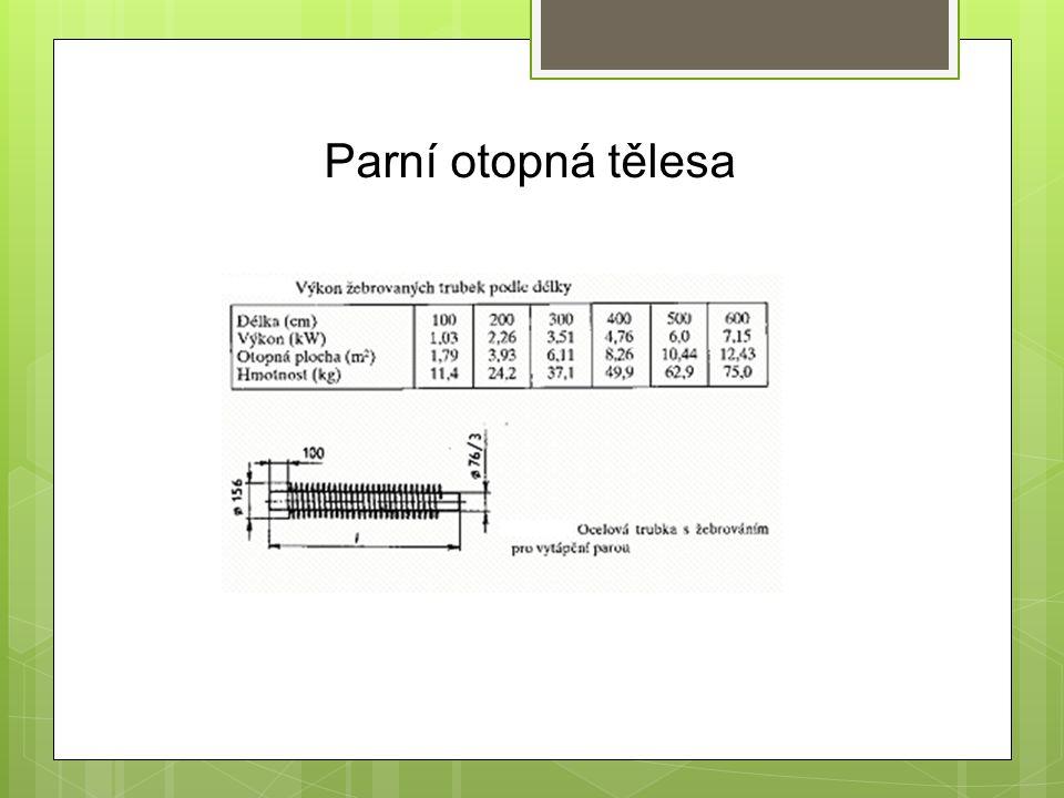 Výkon platí zhruba pro sytou páru do teploty 160 0 C a tlaku 1,7 MPa při teplotě místnosti 20 0 C pro jednu vodorovnou trubku 76/3/156 mm.