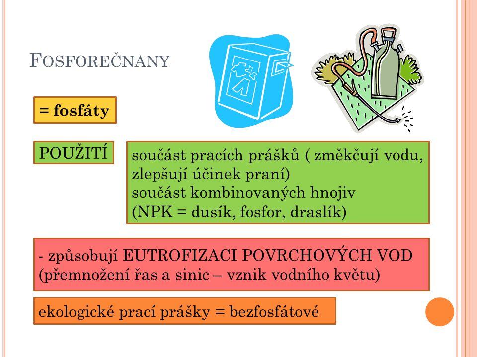F OSFOREČNANY = fosfáty - způsobují EUTROFIZACI POVRCHOVÝCH VOD (přemnožení řas a sinic – vznik vodního květu) POUŽITÍ součást pracích prášků ( změkčují vodu, zlepšují účinek praní) součást kombinovaných hnojiv (NPK = dusík, fosfor, draslík) ekologické prací prášky = bezfosfátové