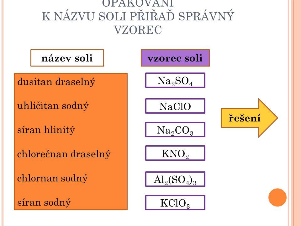 OPAKOVÁNÍ K NÁZVU SOLI PŘIŘAĎ SPRÁVNÝ VZOREC dusitan draselný uhličitan sodný síran hlinitý chlorečnan draselný chlornan sodný síran sodný název solivzorec soli Na 2 SO 4 Na 2 CO 3 NaClO KClO 3 KNO 2 Al 2 (SO 4 ) 3 řešení