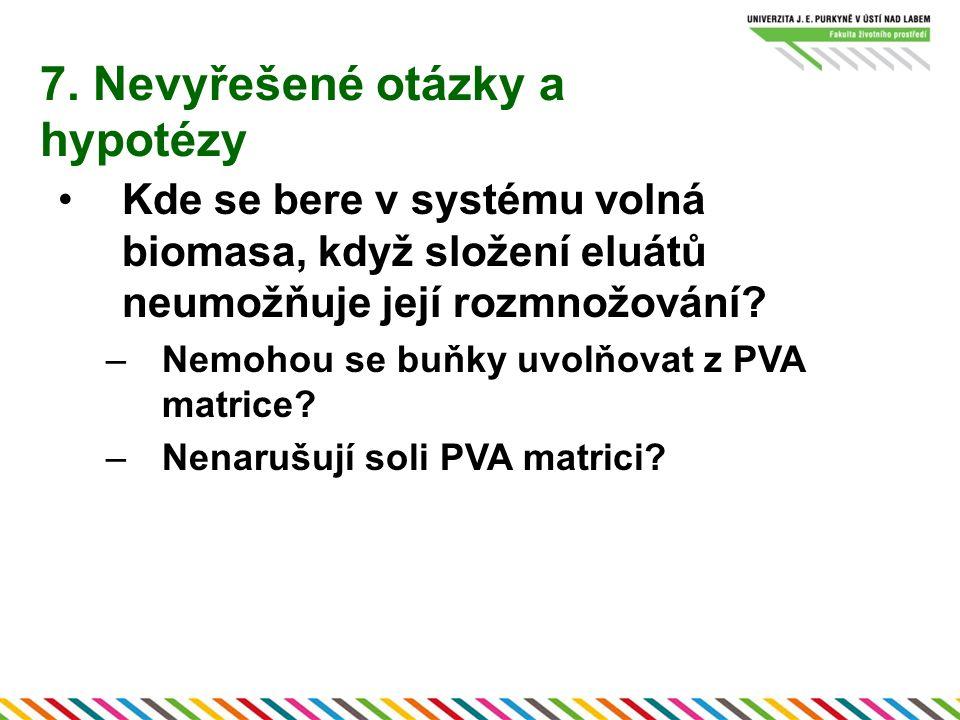 7. Nevyřešené otázky a hypotézy Kde se bere v systému volná biomasa, když složení eluátů neumožňuje její rozmnožování? –Nemohou se buňky uvolňovat z P