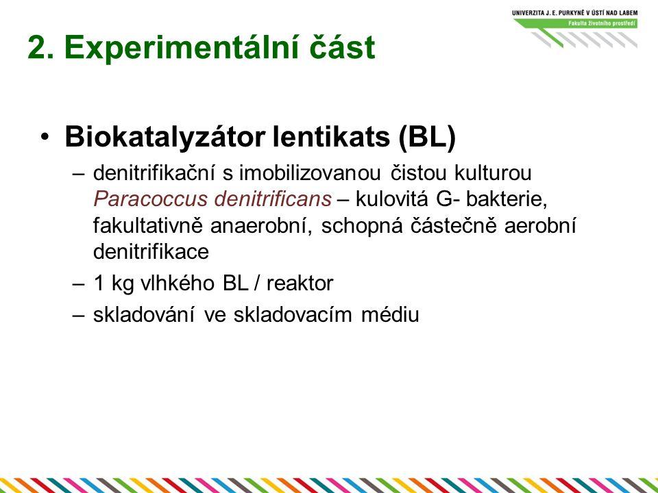 Biokatalyzátor lentikats (BL) –denitrifikační s imobilizovanou čistou kulturou Paracoccus denitrificans – kulovitá G- bakterie, fakultativně anaerobní, schopná částečně aerobní denitrifikace –1 kg vlhkého BL / reaktor –skladování ve skladovacím médiu