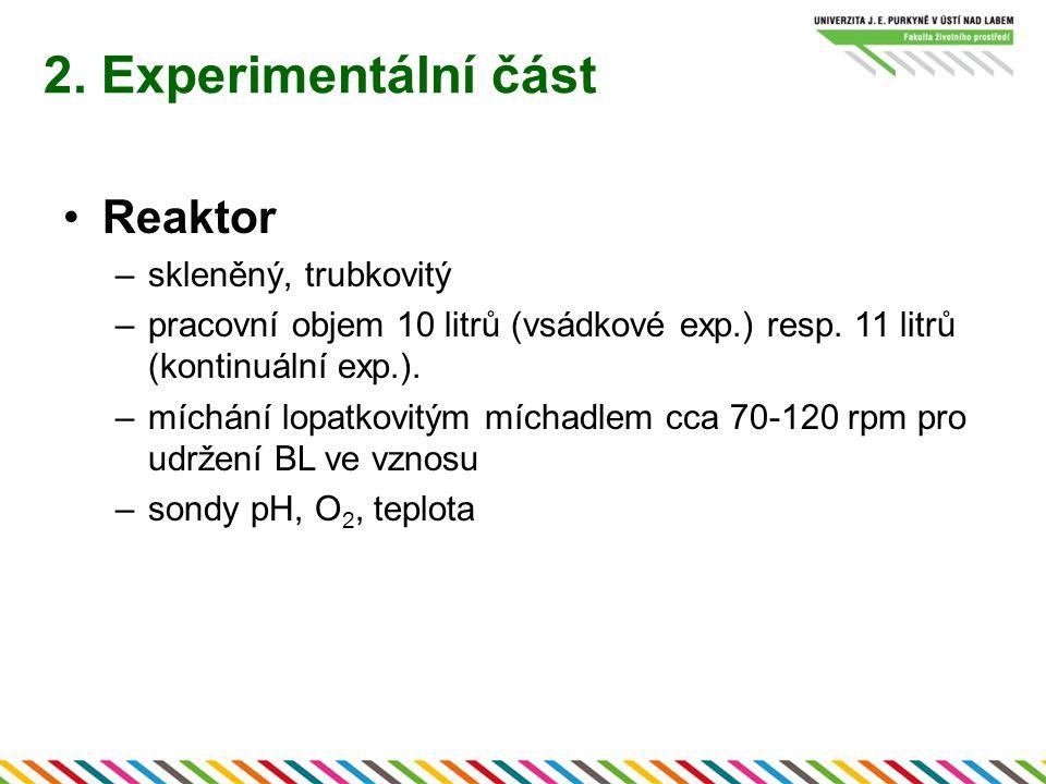 2. Experimentální část Reaktor –skleněný, trubkovitý –pracovní objem 10 litrů (vsádkové exp.) resp. 11 litrů (kontinuální exp.). –míchání lopatkovitým