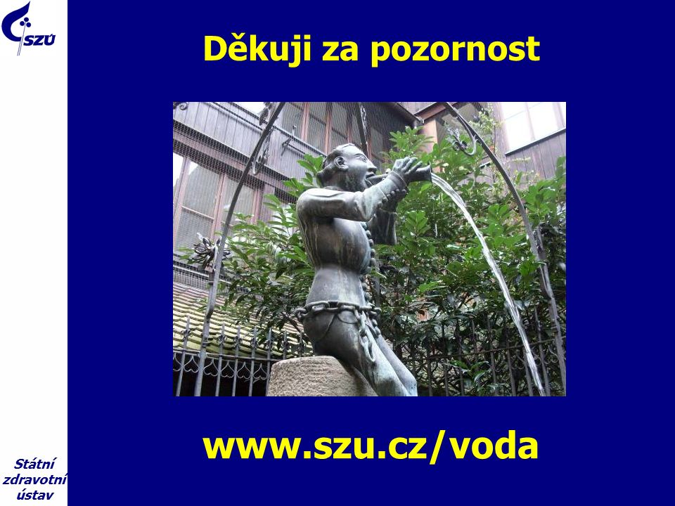 Státní zdravotní ústav Děkuji za pozornost www.szu.cz/voda