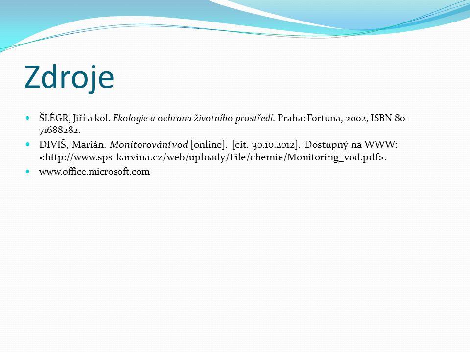Zdroje ŠLÉGR, Jiří a kol. Ekologie a ochrana životního prostředí. Praha: Fortuna, 2002, ISBN 80- 71688282. DIVIŠ, Marián. Monitorování vod [online]. [