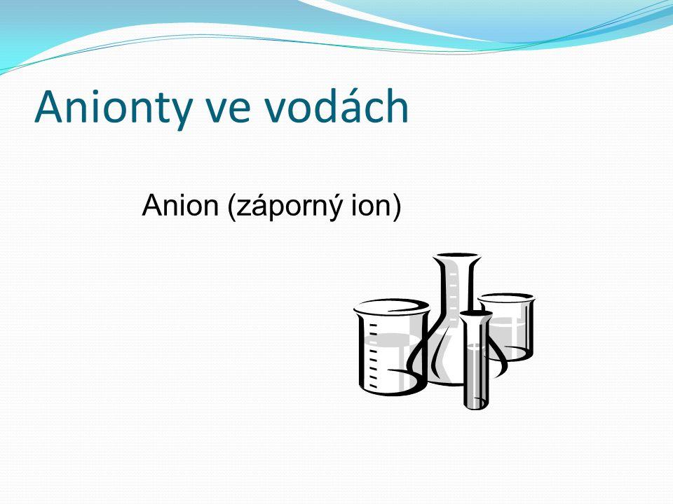 Anionty ve vodách Anion (záporný ion)