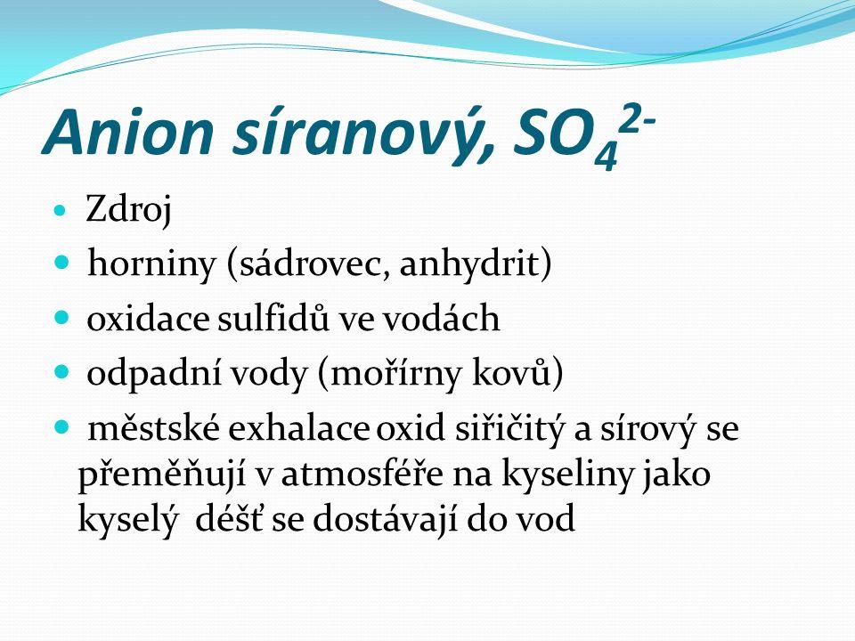 Anion síranový, SO 4 2- Zdroj horniny (sádrovec, anhydrit) oxidace sulfidů ve vodách odpadní vody (mořírny kovů) městské exhalace oxid siřičitý a sírový se přeměňují v atmosféře na kyseliny jako kyselý déšť se dostávají do vod