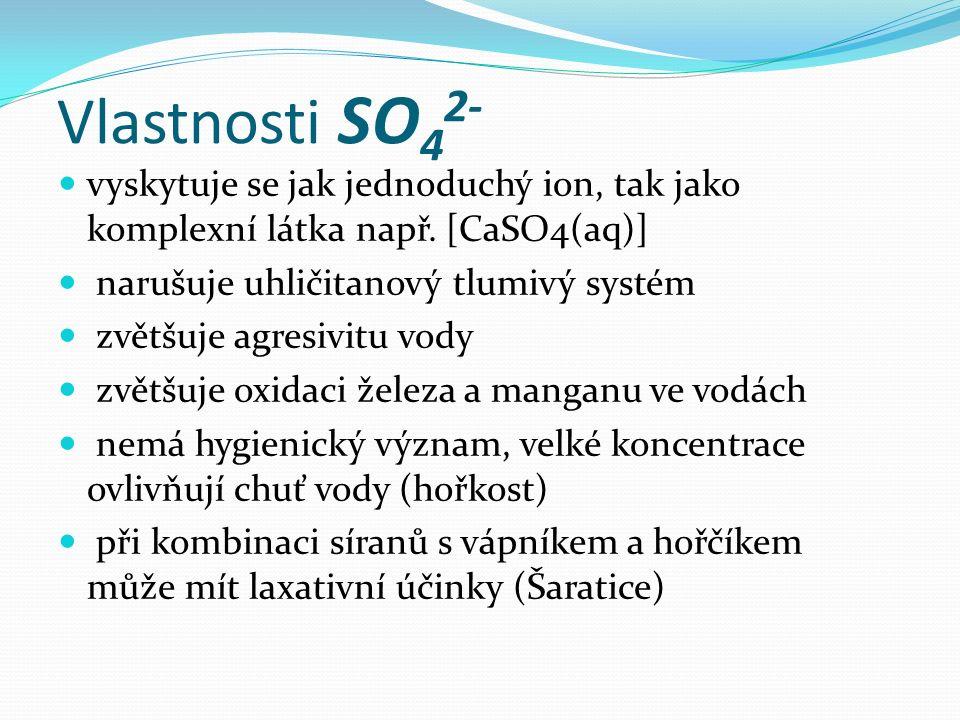 Vlastnosti SO 4 2- vyskytuje se jak jednoduchý ion, tak jako komplexní látka např. [CaSO4(aq)] narušuje uhličitanový tlumivý systém zvětšuje agresivit
