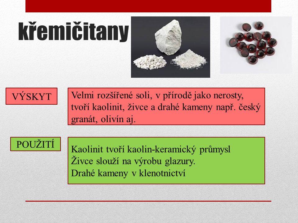 křemičitany POUŽITÍ Kaolinit tvoří kaolin-keramický průmysl Živce slouží na výrobu glazury.