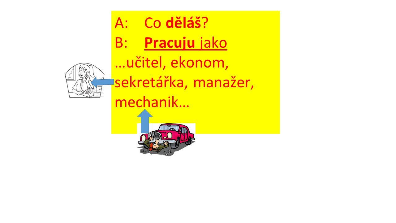 A: Co děláš B: Pracuju jako …učitel, ekonom, sekretářka, manažer, mechanik…