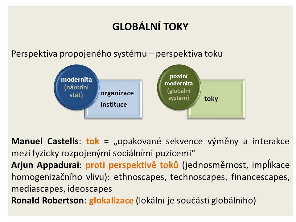 """GLOBÁLNÍ TOKY Perspektiva propojeného systému – perspektiva toku Manuel Castells: tok = """"opakované sekvence výměny a interakce mezi fyzicky rozpojenými sociálními pozicemi Arjun Appadurai: proti perspektivě toků (jednosměrnost, impĺikace homogenizačního vlivu): ethnoscapes, technoscapes, financescapes, mediascapes, ideoscapes Ronald Robertson: glokalizace (lokální je součástí globálního) organizace instituce modernita (národní stát) toky pozdní modernita (globální systém)"""
