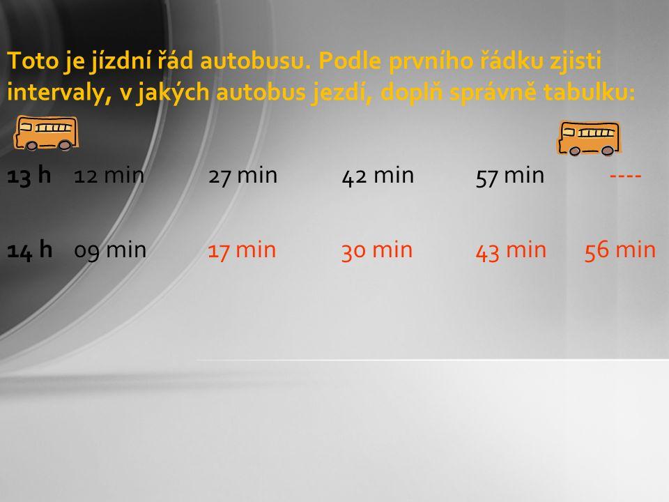 Toto je jízdní řád autobusu. Podle prvního řádku zjisti intervaly, v jakých autobus jezdí, doplň správně tabulku: 13 h 12 min27 min42 min57 min---- 14