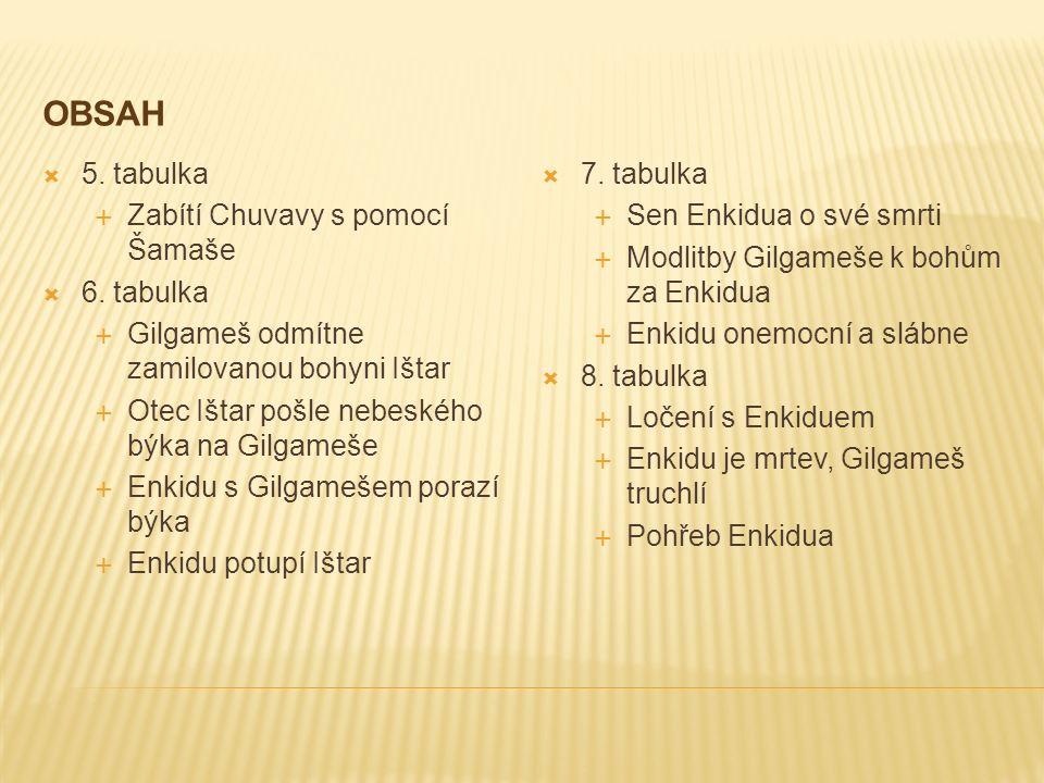 OBSAH  5. tabulka  Zabítí Chuvavy s pomocí Šamaše  6.