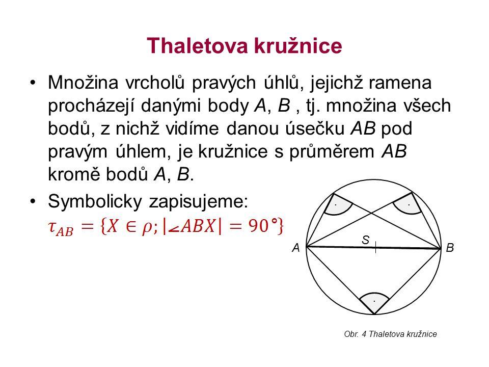 Thaletova kružnice Množina vrcholů pravých úhlů, jejichž ramena procházejí danými body A, B, tj.