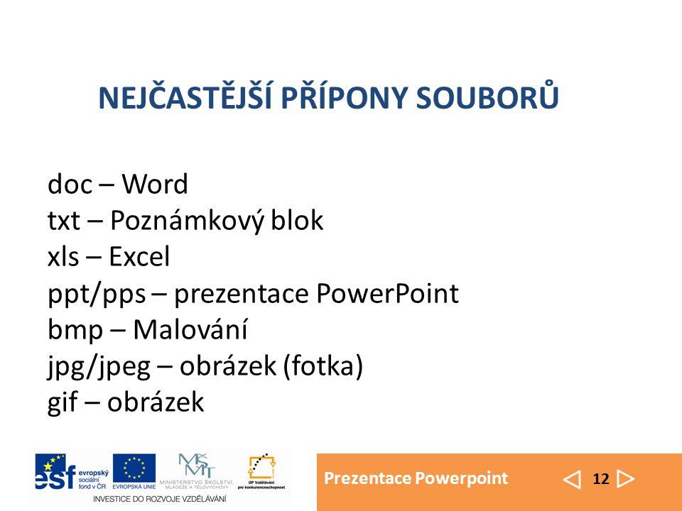 Prezentace Powerpoint 12 doc – Word txt – Poznámkový blok xls – Excel ppt/pps – prezentace PowerPoint bmp – Malování jpg/jpeg – obrázek (fotka) gif – obrázek NEJČASTĚJŠÍ PŘÍPONY SOUBORŮ
