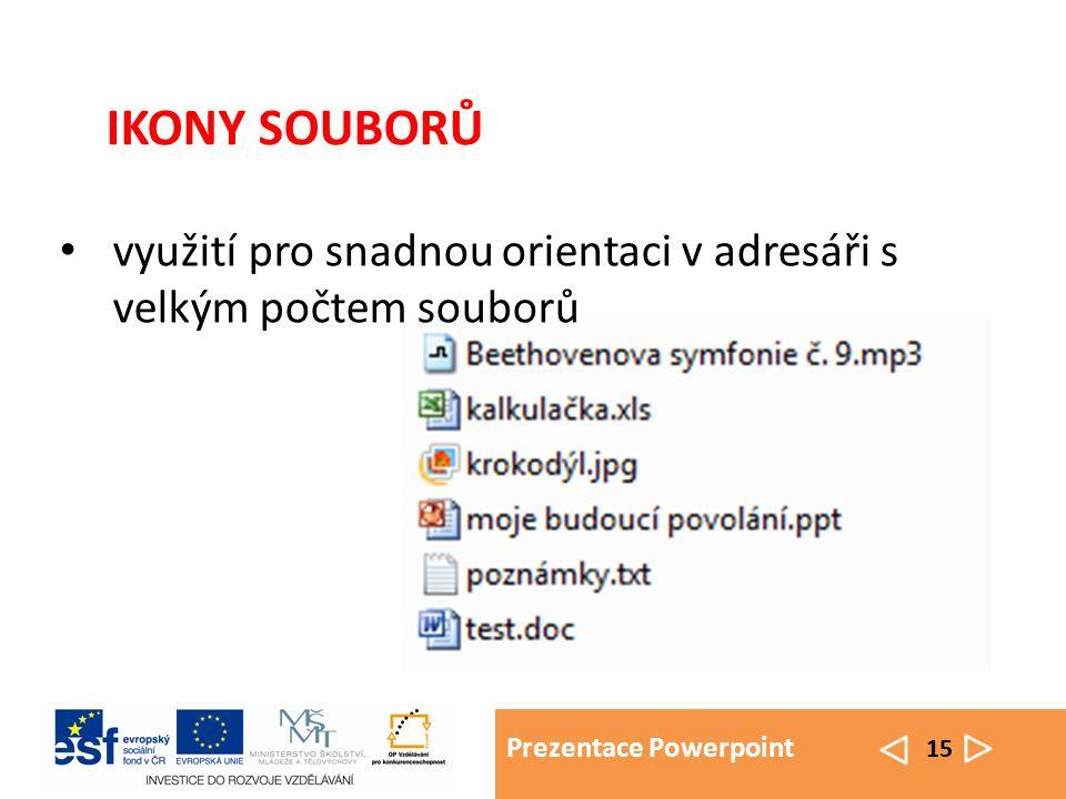 Prezentace Powerpoint 15 využití pro snadnou orientaci v adresáři s velkým počtem souborů IKONY SOUBORŮ