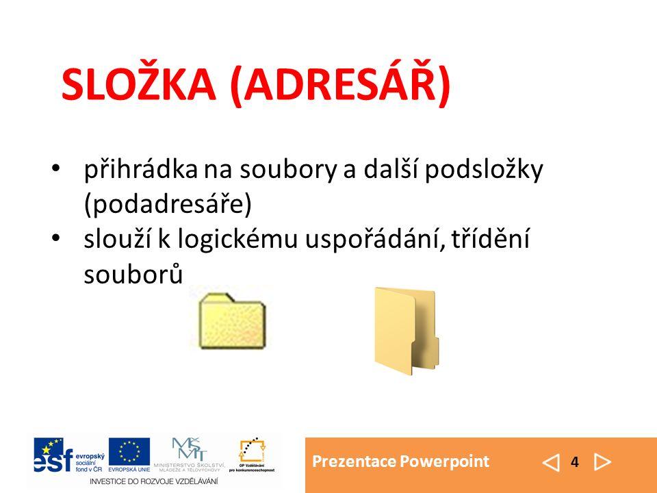 Prezentace Powerpoint 4 SLOŽKA (ADRESÁŘ) přihrádka na soubory a další podsložky (podadresáře) slouží k logickému uspořádání, třídění souborů