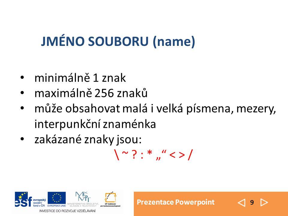 Prezentace Powerpoint 9 minimálně 1 znak maximálně 256 znaků může obsahovat malá i velká písmena, mezery, interpunkční znaménka zakázané znaky jsou: \ ~ .