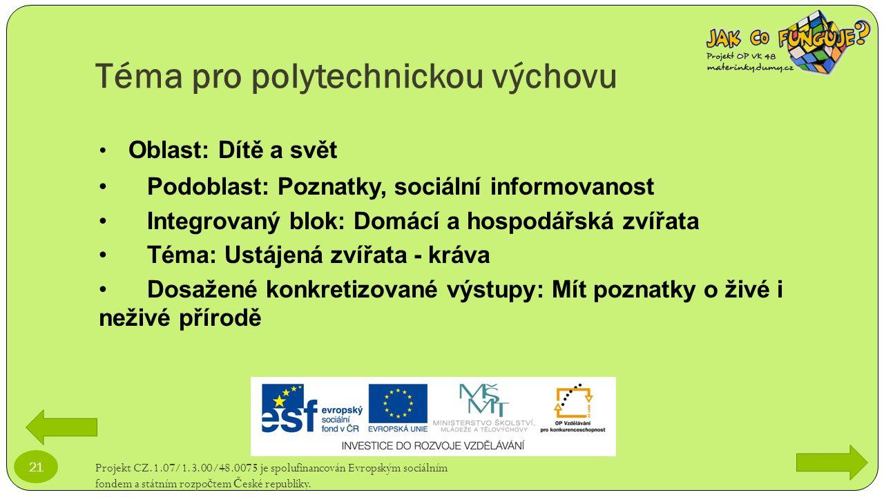 Téma pro polytechnickou výchovu Projekt CZ.1.07/1.3.00/48.0075 je spolufinancován Evropským sociálním fondem a státním rozpo č tem Č eské republiky. 2
