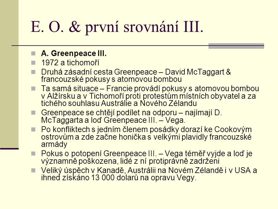 E. O. & první srovnání III. A. Greenpeace III. 1972 a tichomoří Druhá zásadní cesta Greenpeace – David McTaggart & francouzské pokusy s atomovou bombo