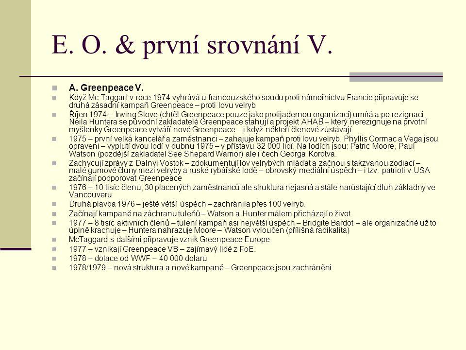 E. O. & první srovnání V. A. Greenpeace V.