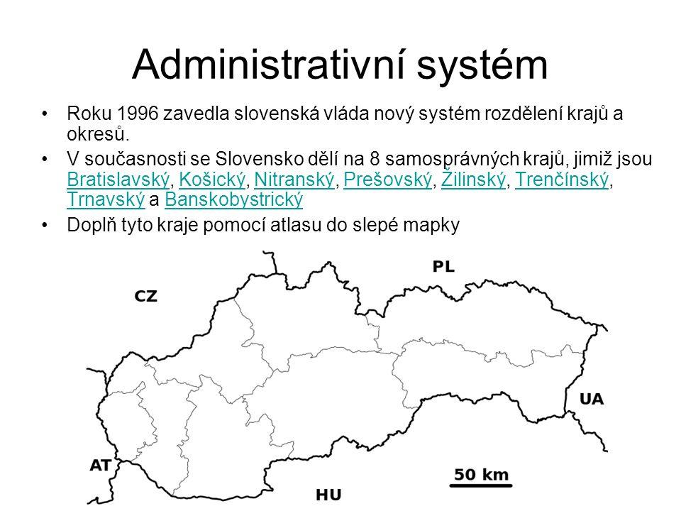 Administrativní systém Roku 1996 zavedla slovenská vláda nový systém rozdělení krajů a okresů. V současnosti se Slovensko dělí na 8 samosprávných kraj