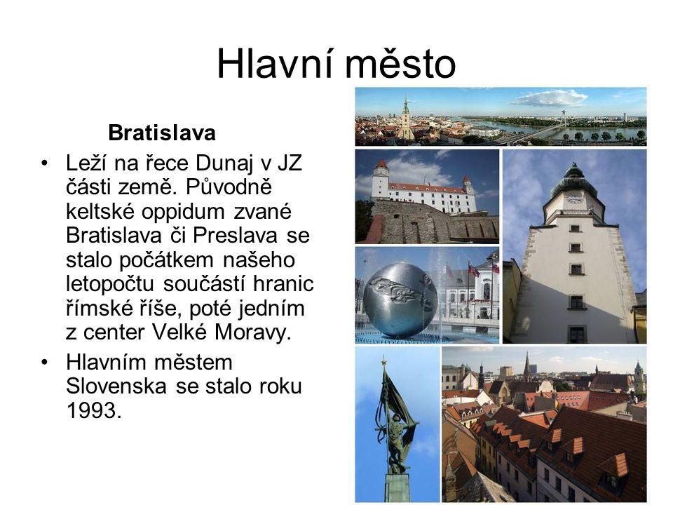 Hlavní město Bratislava Leží na řece Dunaj v JZ části země. Původně keltské oppidum zvané Bratislava či Preslava se stalo počátkem našeho letopočtu so