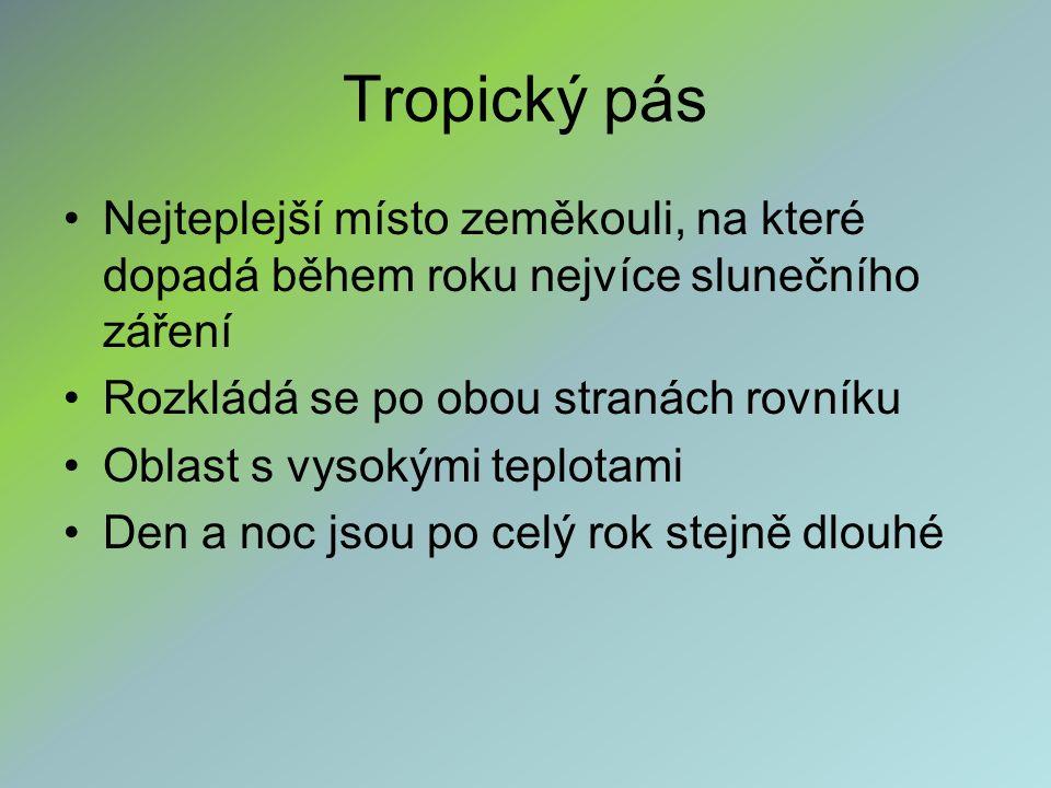 Tropický pás tři hlavní typy krajiny 1) tropický deštný les (prales) 2) savana 3) poušť