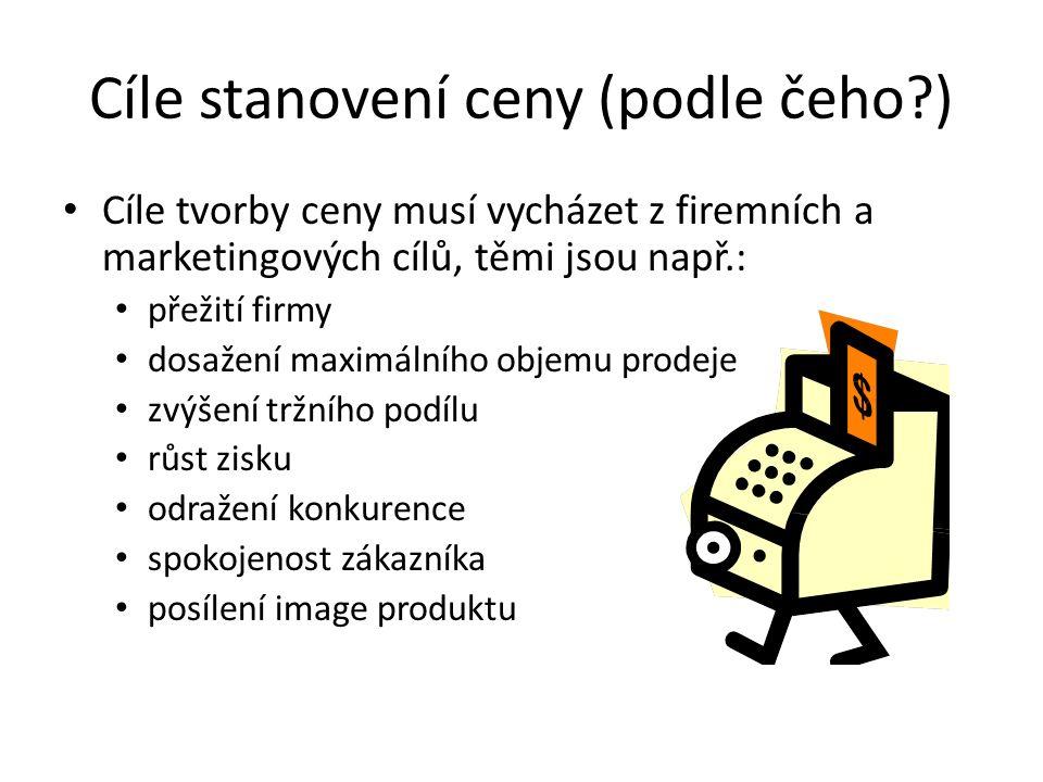 Cíle stanovení ceny (podle čeho ) Cíle tvorby ceny musí vycházet z firemních a marketingových cílů, těmi jsou např.: přežití firmy dosažení maximálního objemu prodeje zvýšení tržního podílu růst zisku odražení konkurence spokojenost zákazníka posílení image produktu