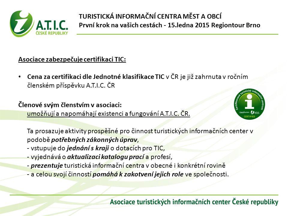 Asociace zabezpečuje certifikaci TIC: Cena za certifikaci dle Jednotné klasifikace TIC v ČR je již zahrnuta v ročním členském příspěvku A.T.I.C.