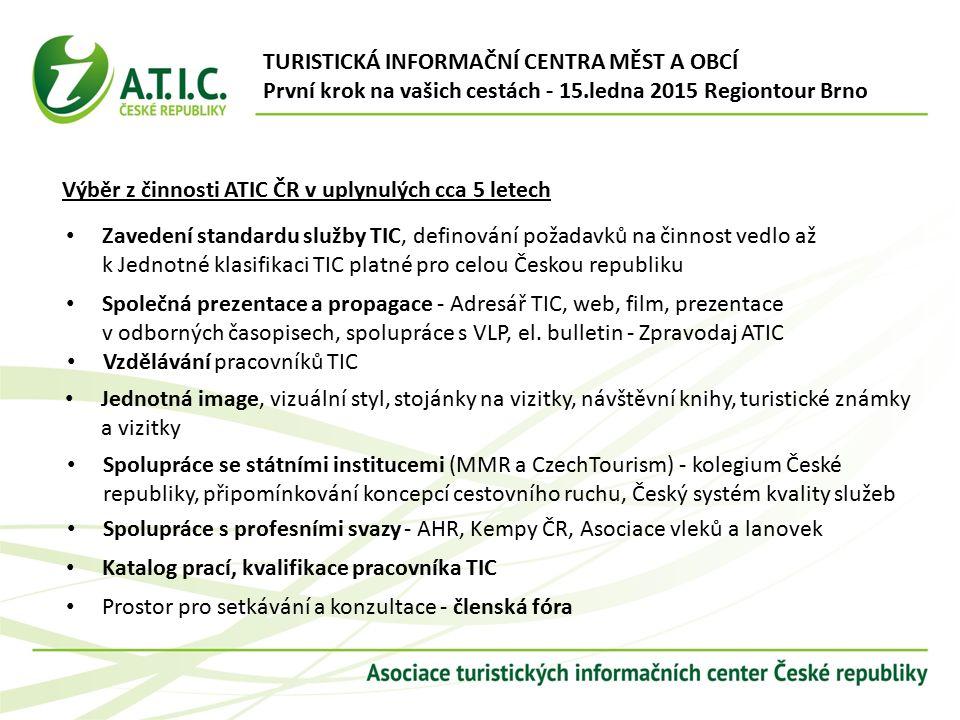Zavedení standardu služby TIC, definování požadavků na činnost vedlo až k Jednotné klasifikaci TIC platné pro celou Českou republiku Společná prezentace a propagace - Adresář TIC, web, film, prezentace v odborných časopisech, spolupráce s VLP, el.