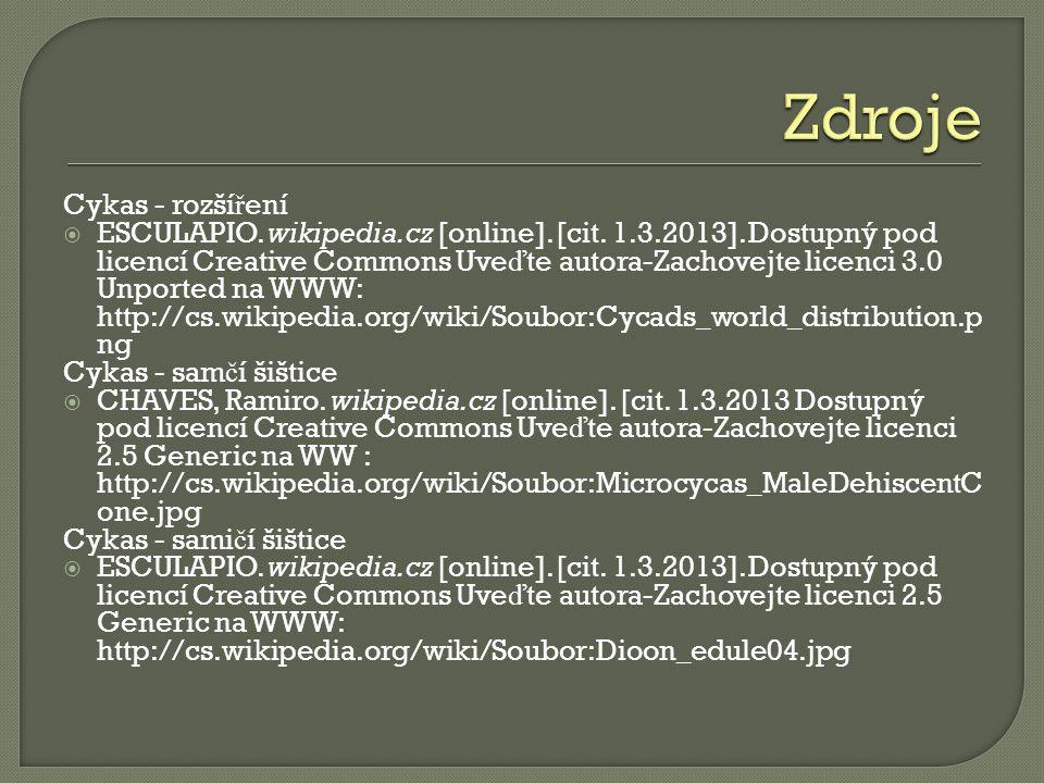 Cykas - rozší ř ení  ESCULAPIO. wikipedia.cz [online].