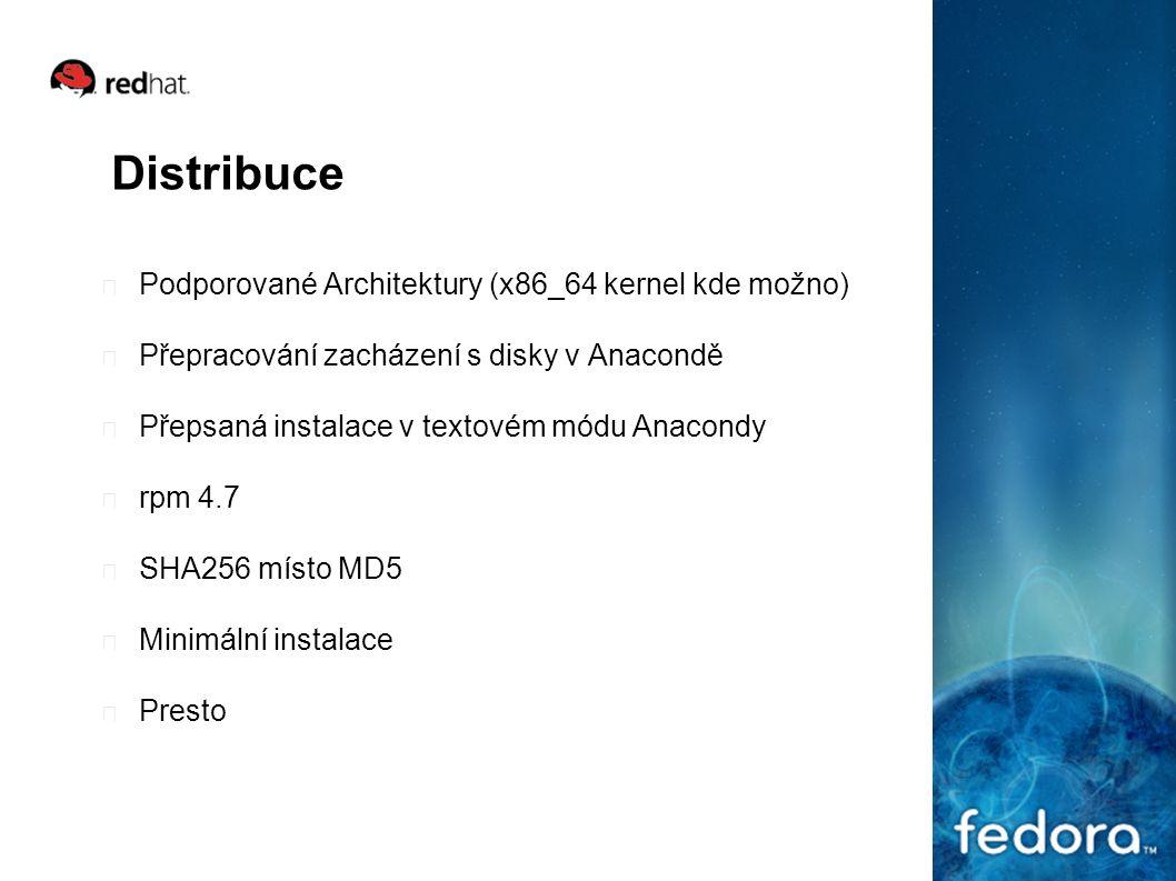 Distribuce Podporované Architektury (x86_64 kernel kde možno) Přepracování zacházení s disky v Anacondě Přepsaná instalace v textovém módu Anacondy rpm 4.7 SHA256 místo MD5 Minimální instalace Presto