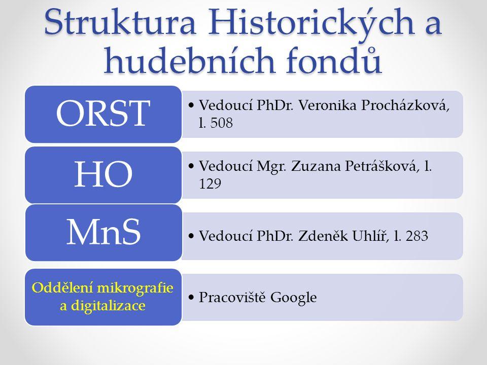 Struktura Historických a hudebních fondů Vedoucí PhDr.