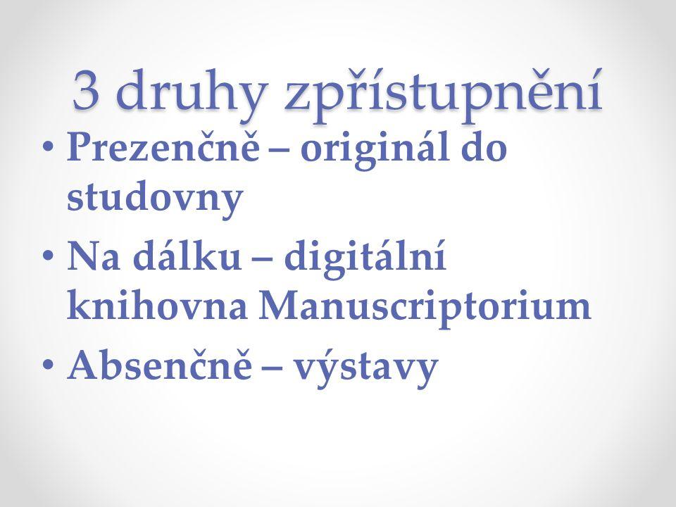 3 druhy zpřístupnění Prezenčně – originál do studovny Na dálku – digitální knihovna Manuscriptorium Absenčně – výstavy