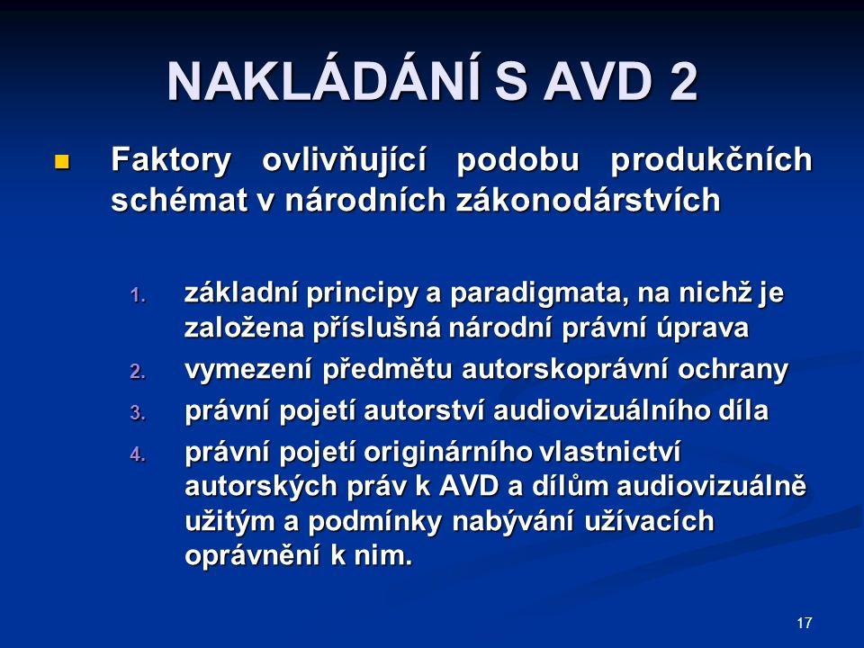 17 NAKLÁDÁNÍ S AVD 2 Faktory ovlivňující podobu produkčních schémat v národních zákonodárstvích Faktory ovlivňující podobu produkčních schémat v národních zákonodárstvích 1.