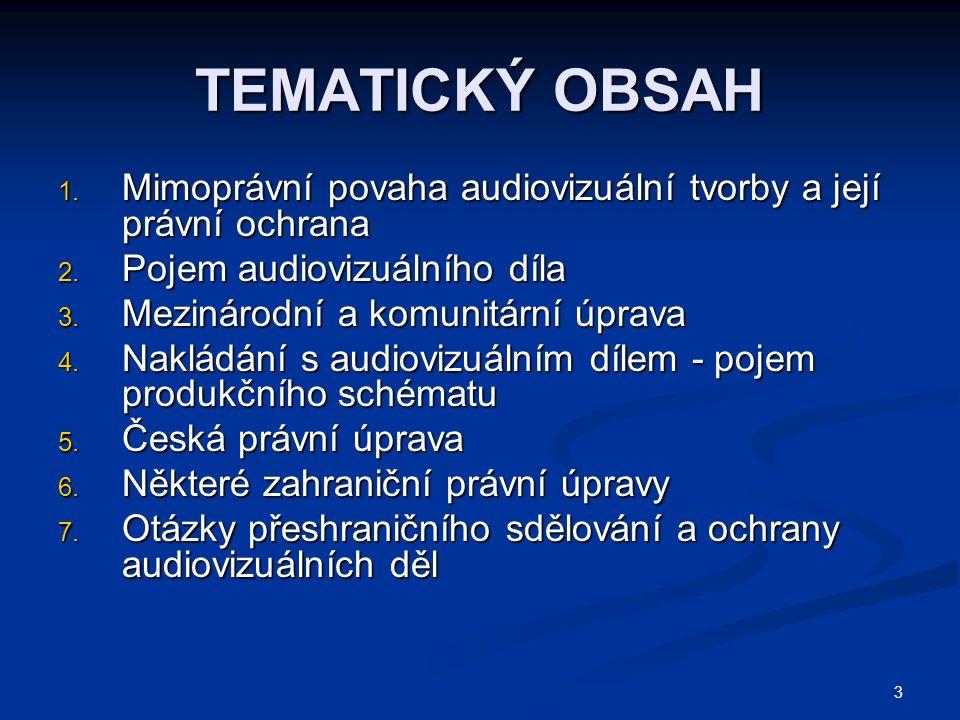 3 TEMATICKÝ OBSAH 1. Mimoprávní povaha audiovizuální tvorby a její právní ochrana 2.