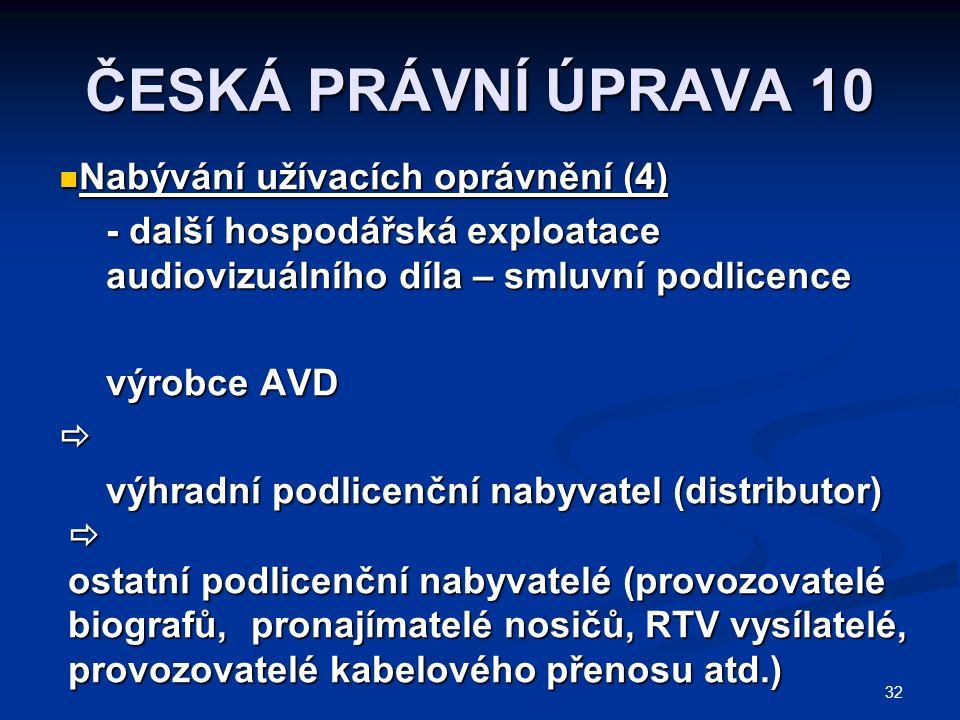 32 ČESKÁ PRÁVNÍ ÚPRAVA 10 Nabývání užívacích oprávnění (4) Nabývání užívacích oprávnění (4) - další hospodářská exploatace audiovizuálního díla – smluvní podlicence výrobce AVD  výhradní podlicenční nabyvatel (distributor)  ostatní podlicenční nabyvatelé (provozovatelé biografů, pronajímatelé nosičů, RTV vysílatelé, provozovatelé kabelového přenosu atd.)