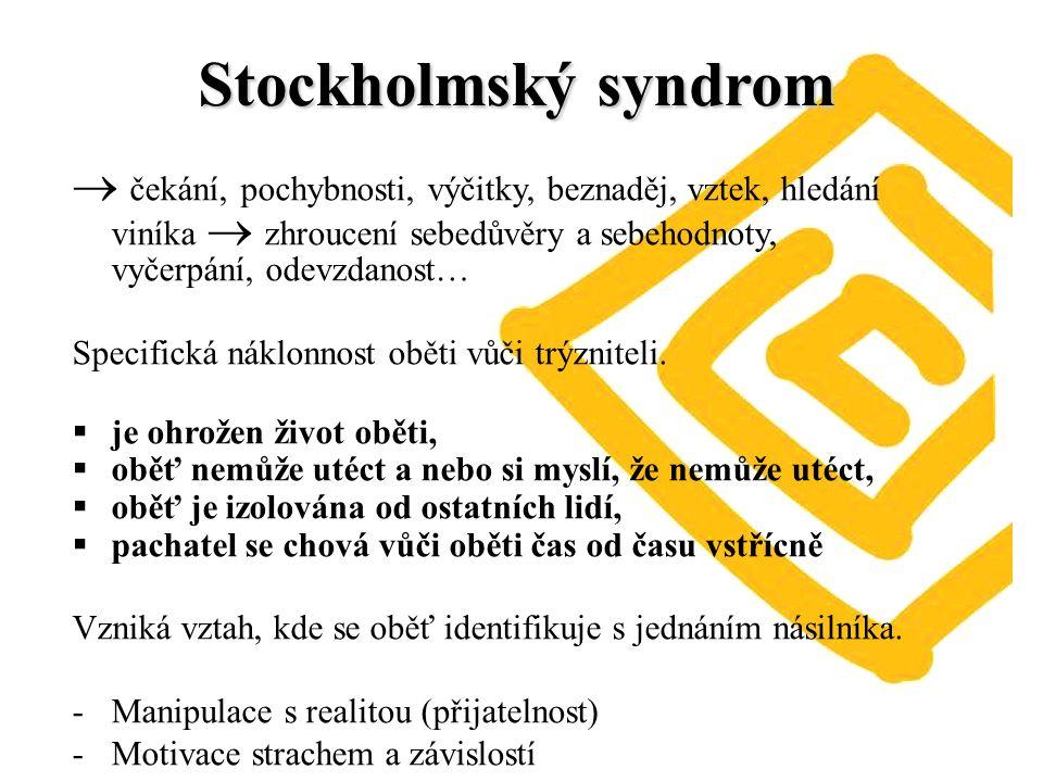 Stockholmský syndrom  čekání, pochybnosti, výčitky, beznaděj, vztek, hledání viníka  zhroucení sebedůvěry a sebehodnoty, vyčerpání, odevzdanost… Specifická náklonnost oběti vůči trýzniteli.