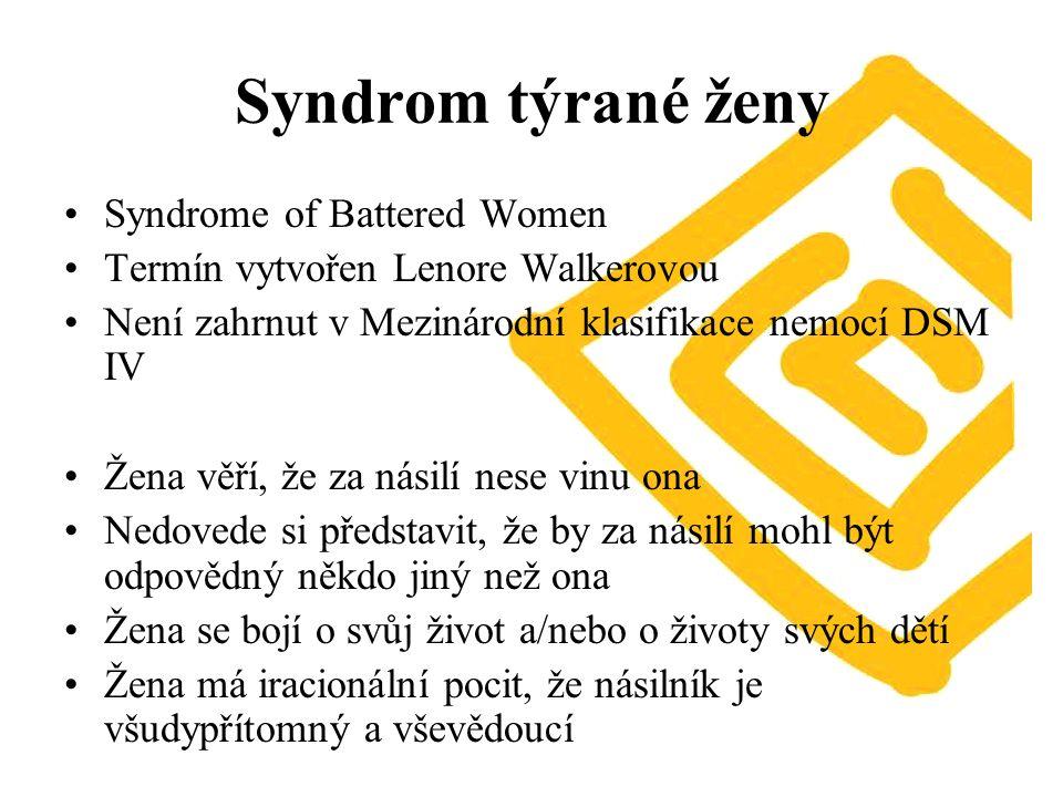 Syndrom týrané ženy Syndrome of Battered Women Termín vytvořen Lenore Walkerovou Není zahrnut v Mezinárodní klasifikace nemocí DSM IV Žena věří, že za násilí nese vinu ona Nedovede si představit, že by za násilí mohl být odpovědný někdo jiný než ona Žena se bojí o svůj život a/nebo o životy svých dětí Žena má iracionální pocit, že násilník je všudypřítomný a vševědoucí