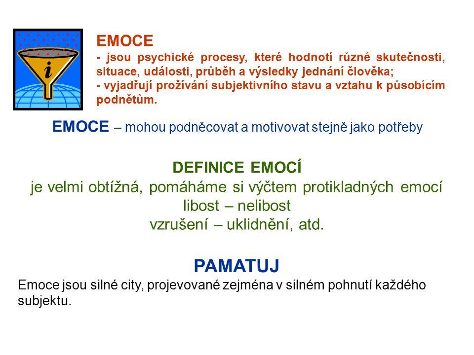 EMOCE - jsou psychické procesy, které hodnotí různé skutečnosti, situace, události, průběh a výsledky jednání člověka; - vyjadřují prožívání subjektivního stavu a vztahu k působícím podnětům.