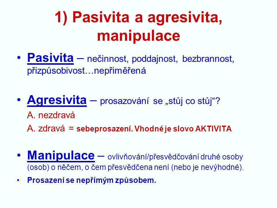 """1) Pasivita a agresivita, manipulace Pasivita – nečinnost, poddajnost, bezbrannost, přizpůsobivost…nepřiměřená Agresivita – prosazování se """"stůj co stůj ."""